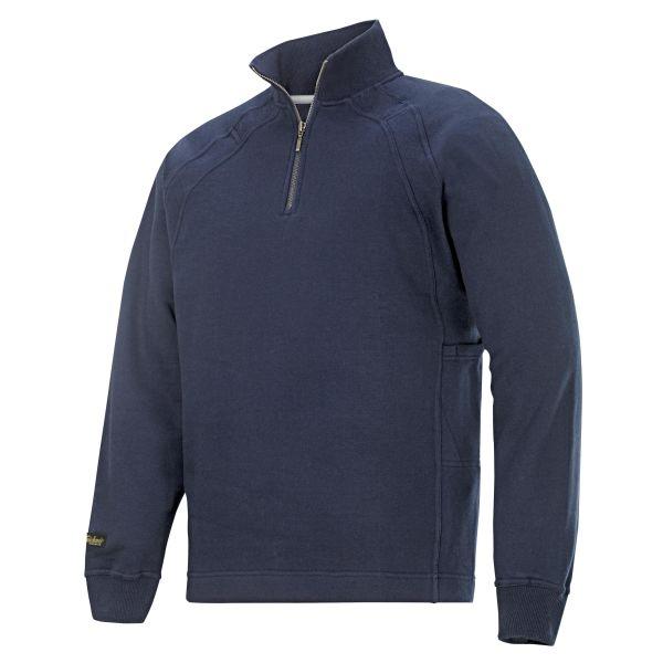 Snickers 2813 Sweatshirt marineblå, kort glidelås XS