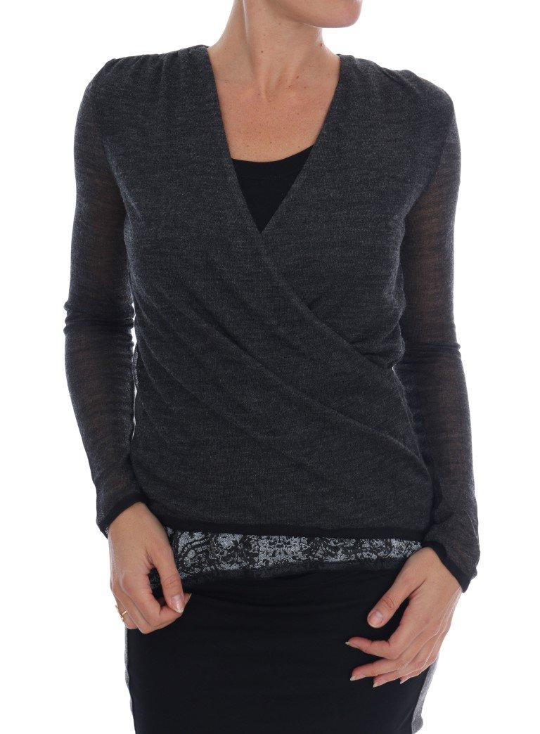 Ermanno Scervino Women's Long Sleeved T-Shirt Grey TSH1553 - IT40 | XS
