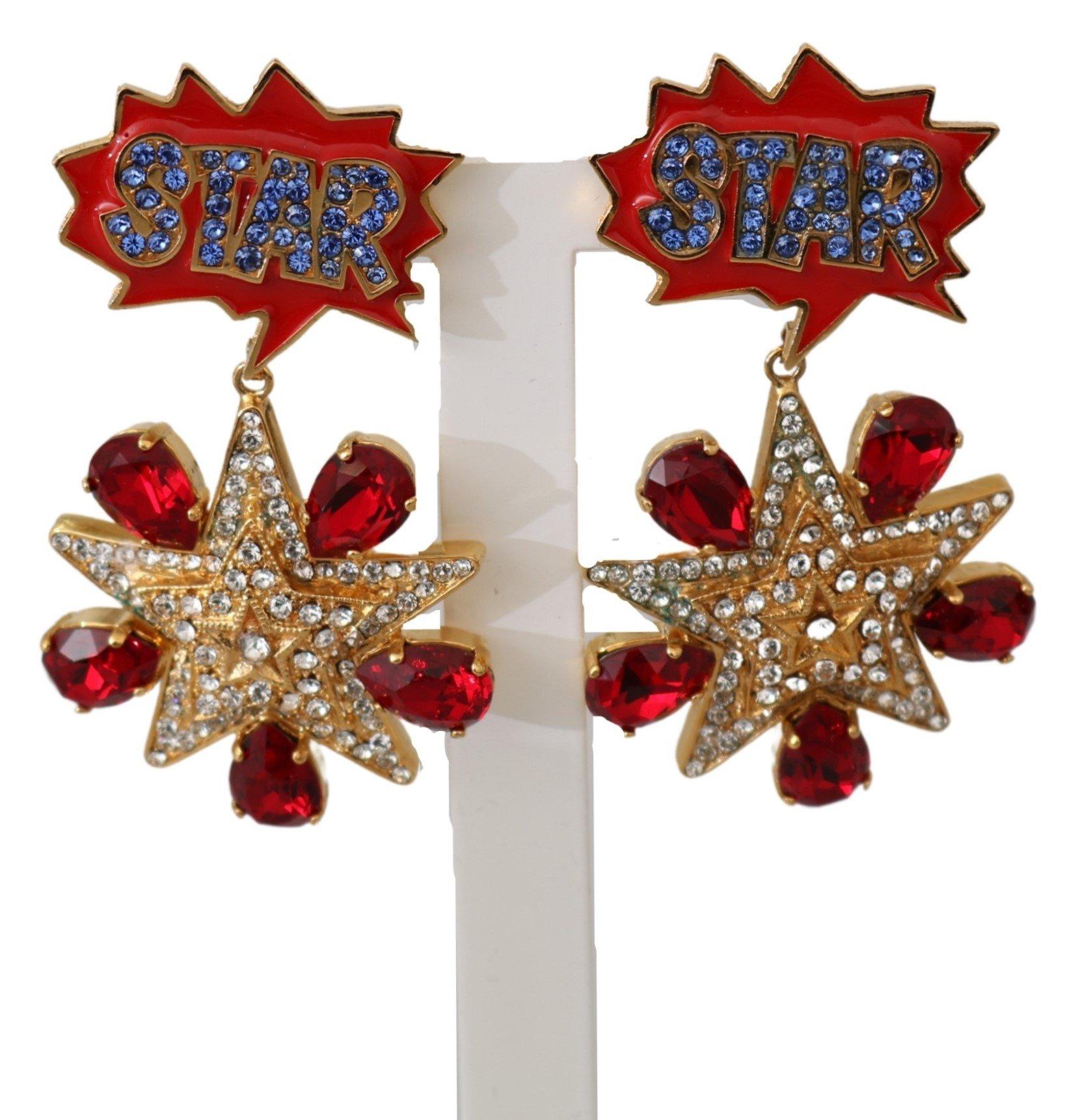 Dolce & Gabbana Women's Brass Clear Crystal Clip-on Earrings Red SMY10047