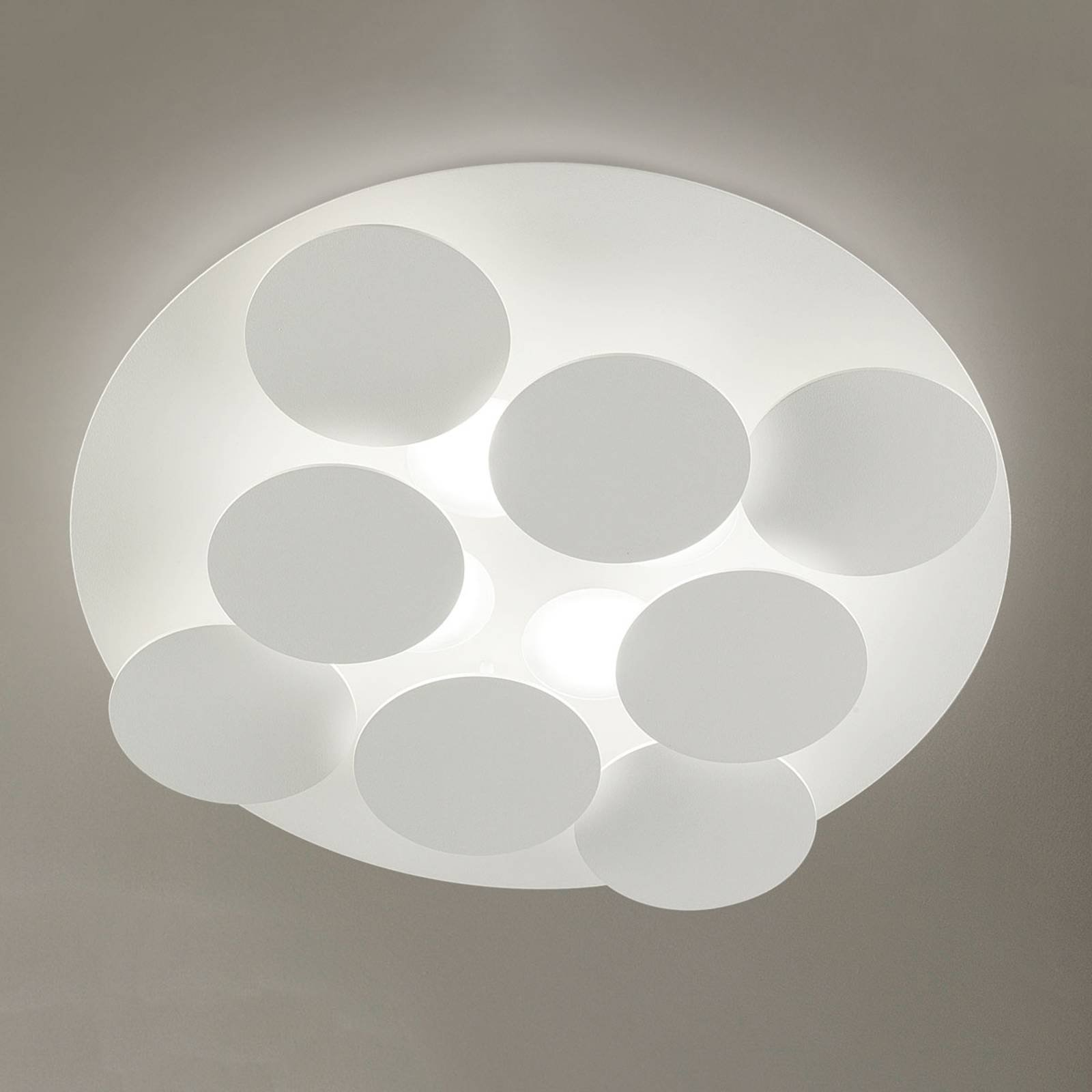 Snøhvit LED-taklampe Nuvola, justerbar