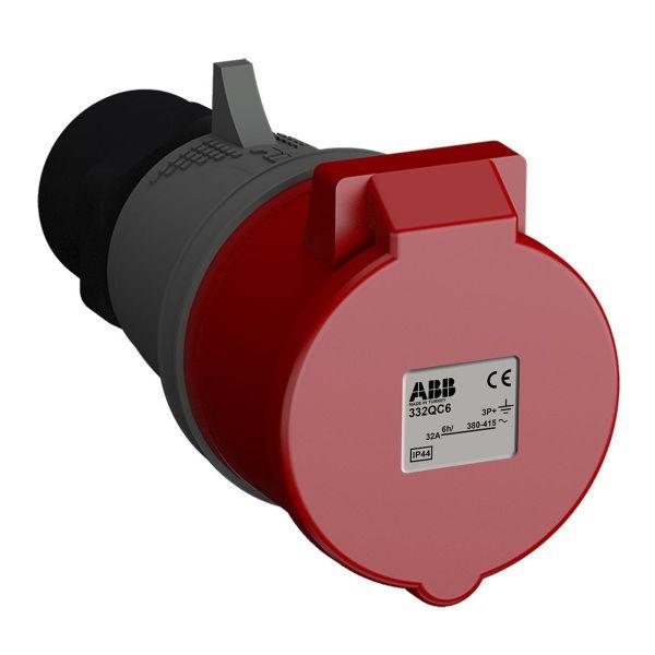 ABB 2CMA102365R1000 Jatkopistorasia pikaliitettävä, tärinänkestävä Punainen, 32 A, 4-napainen, IP44