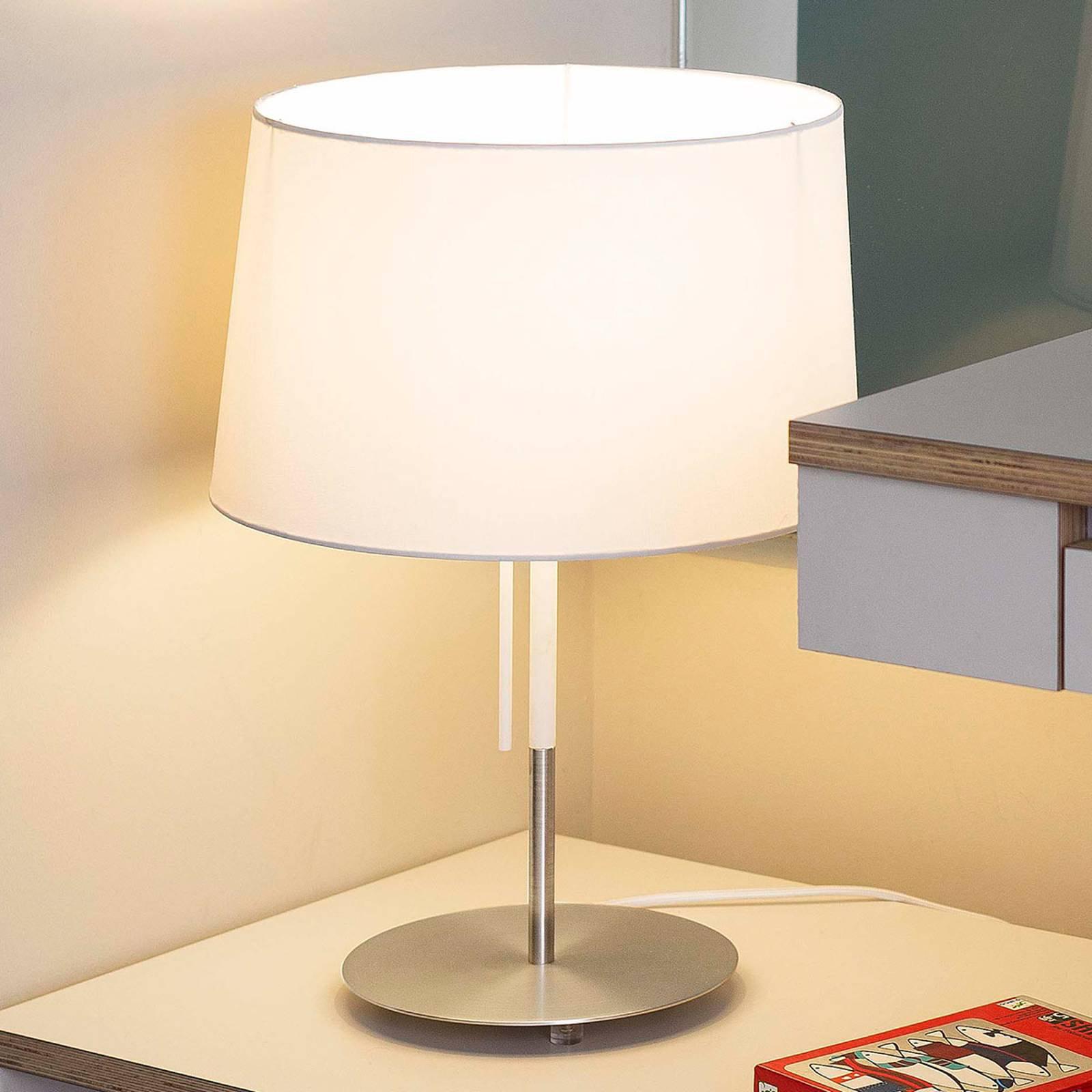 Bordlampe Volta, hvit, tekstil