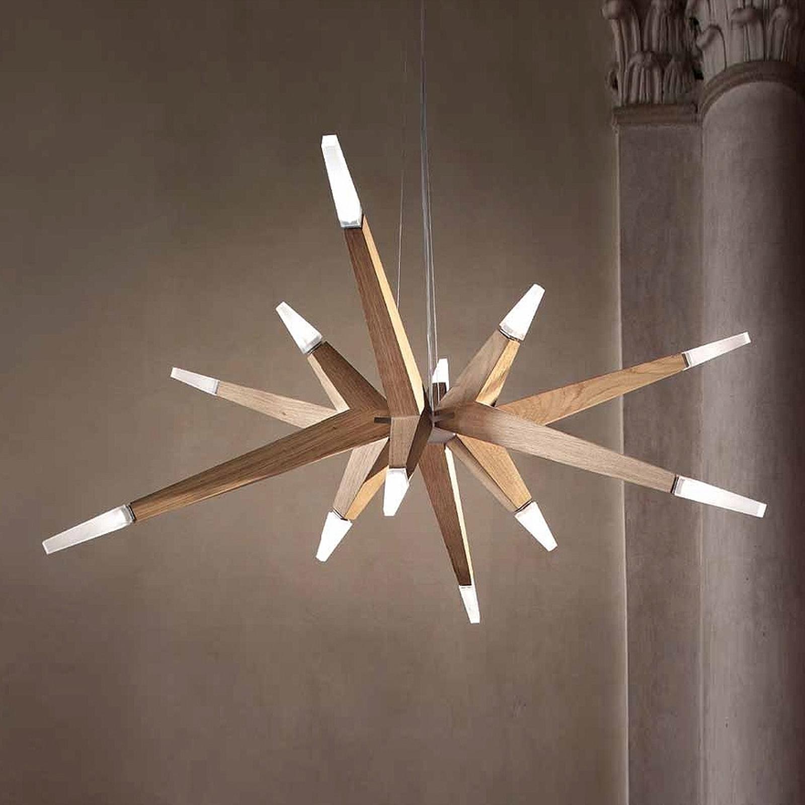 LED-riippuvalaisin Flashwood modernia tammea 140cm