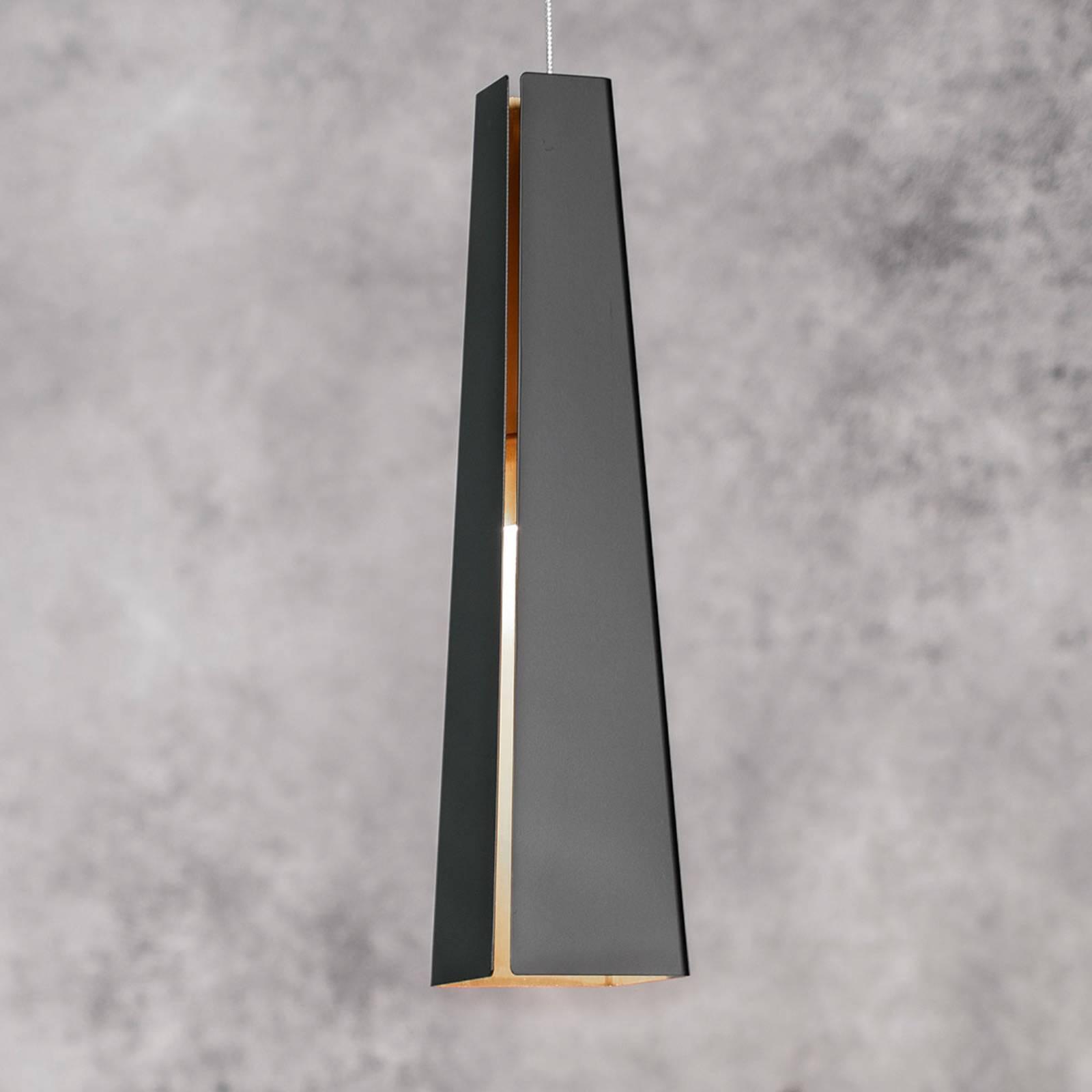 Alumiininen riippuvalaisin Pluma, musta-kulta, LED