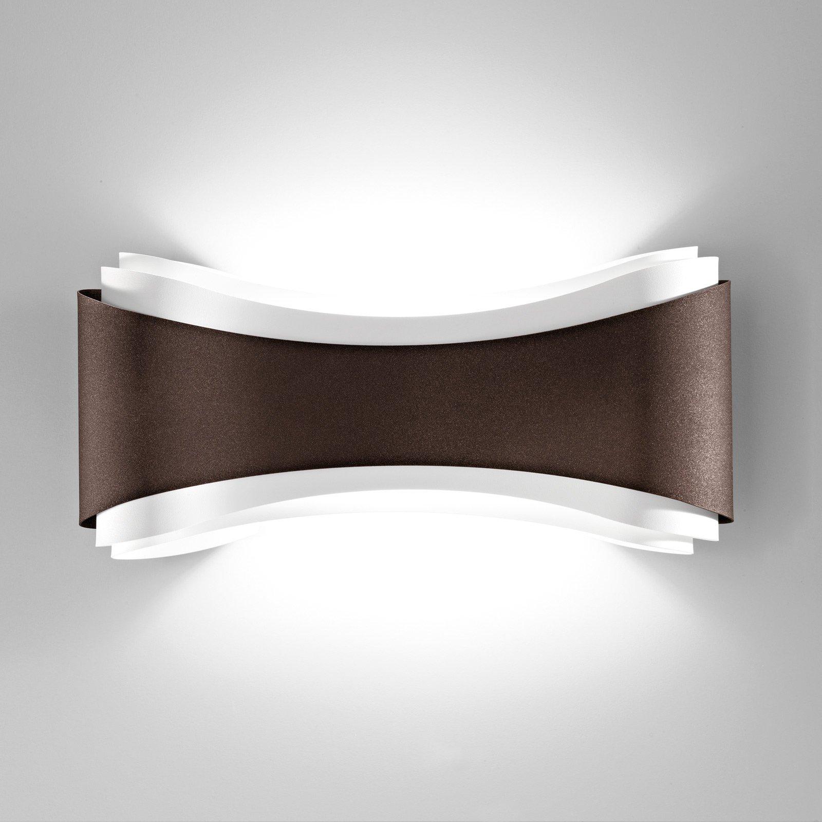 LED-vegglampe Ionica av stål, bronse