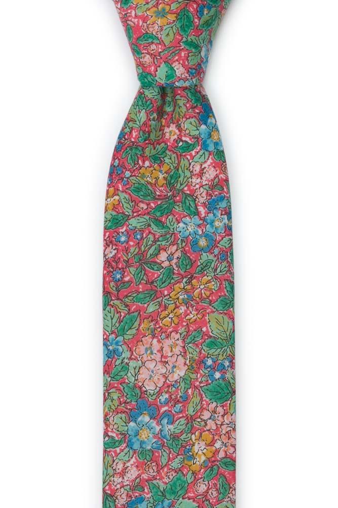 Bomull Gutteslips, Varm rosa med blomster i grønt, rosa & honning