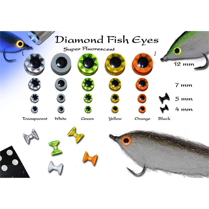 Diamond Fish Eyes - Orange 12mm Super Fluorescent fiskeøyne 12 stk