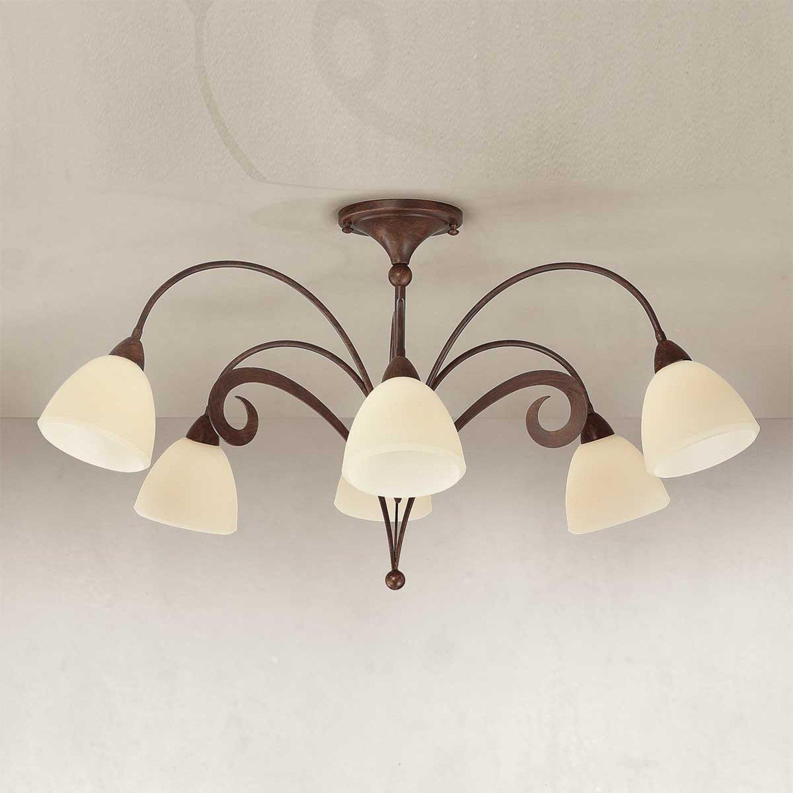 Rustikk taklampe Luca, 6 lys