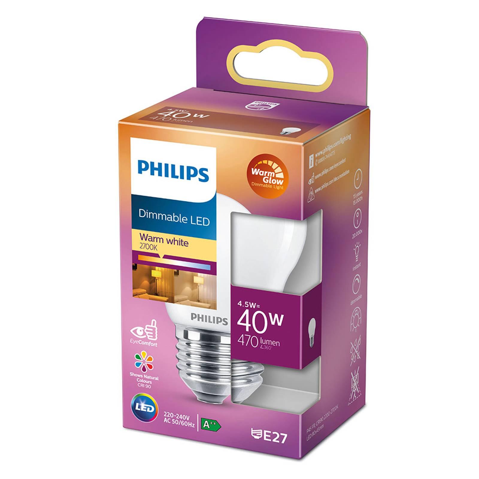 Philips LED Classic WarmGlow E27 P45 3,4W matta
