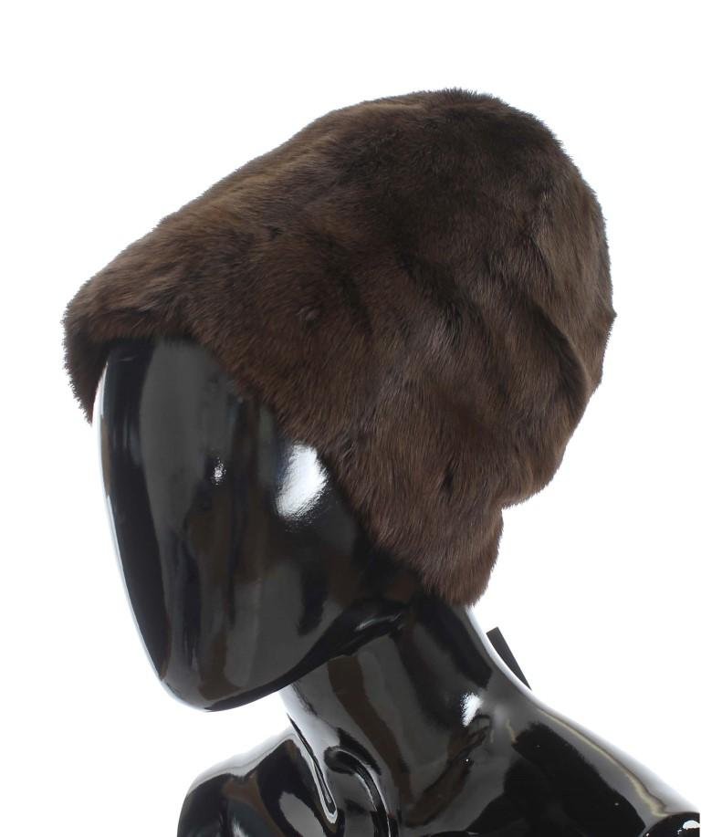Dolce & Gabbana Women's Weasel Fur Cashmere Hat Beanie Brown MS812 - 58 cm|M