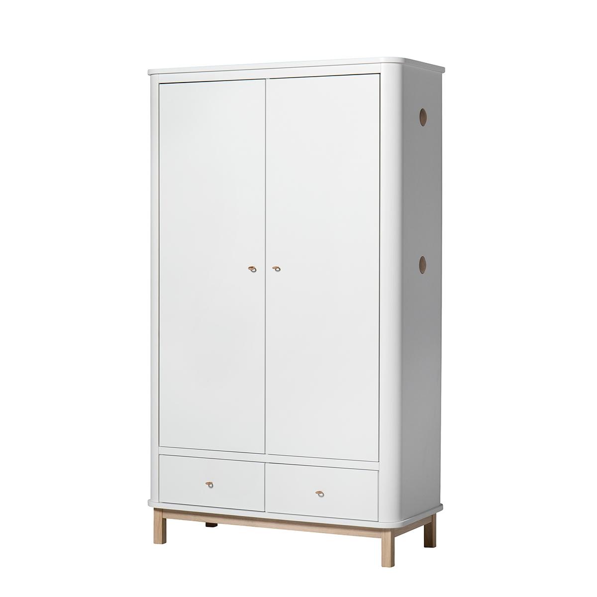 Garderob 2 dörrar Wood vit/ ek, Oliver Furniture