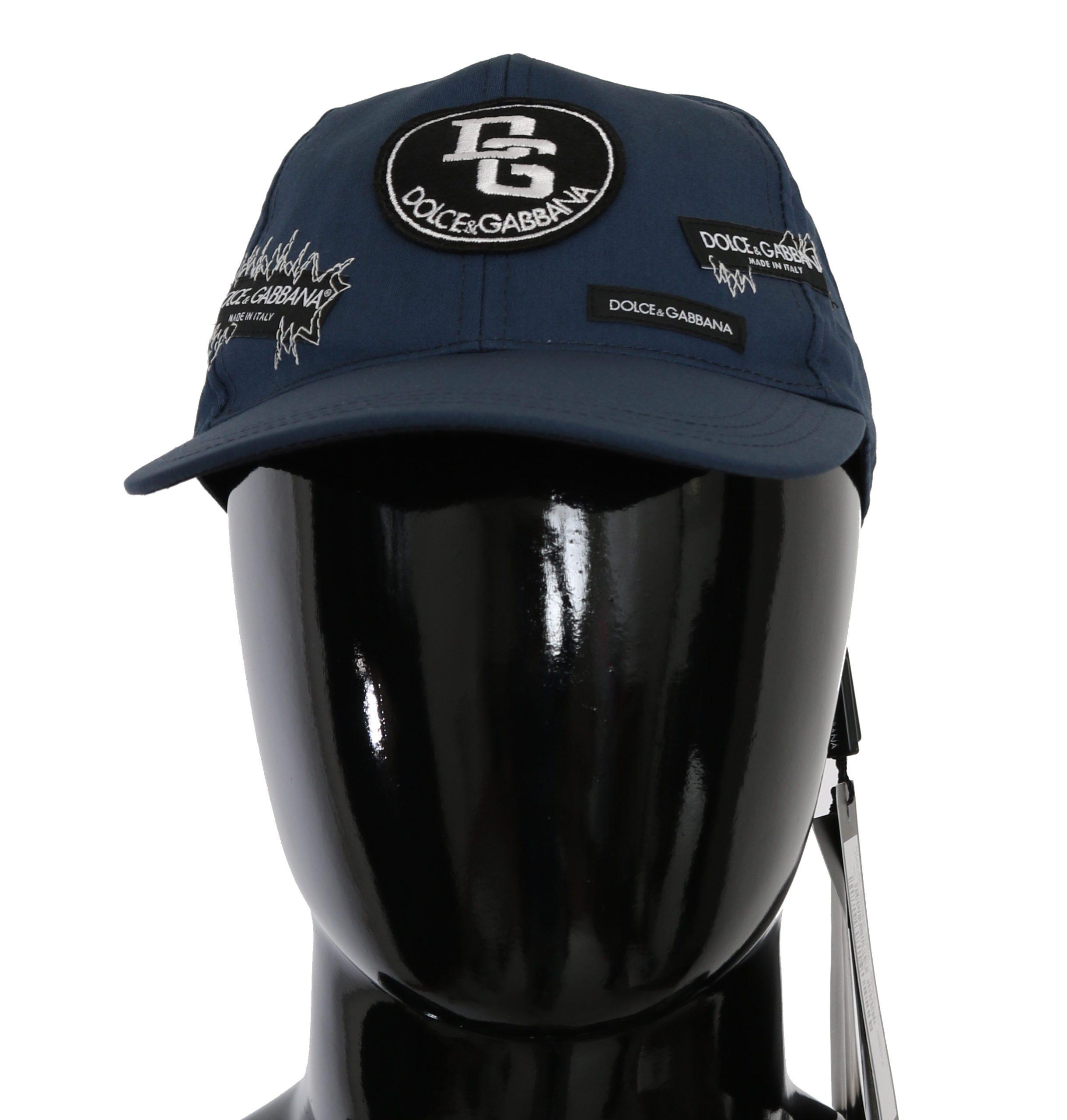 Dolce & Gabbana Men's Patch Baseball Cotton Stretch Hat Blue HAT9057 - 57 cm S
