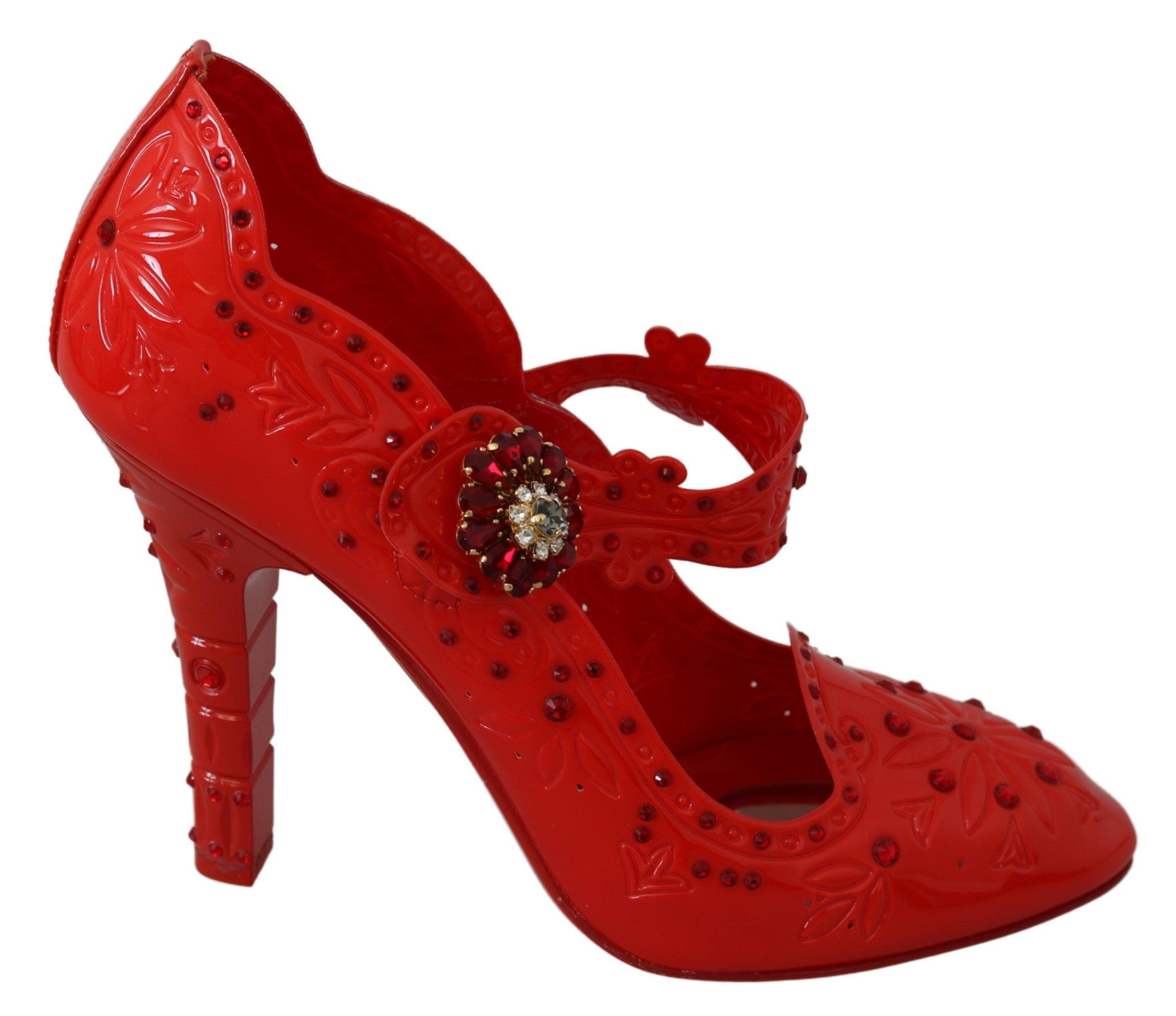 Dolce & Gabbana Women's Floral Crystal CINDERELLA Pumps Red LA7289 - EU40/US9.5