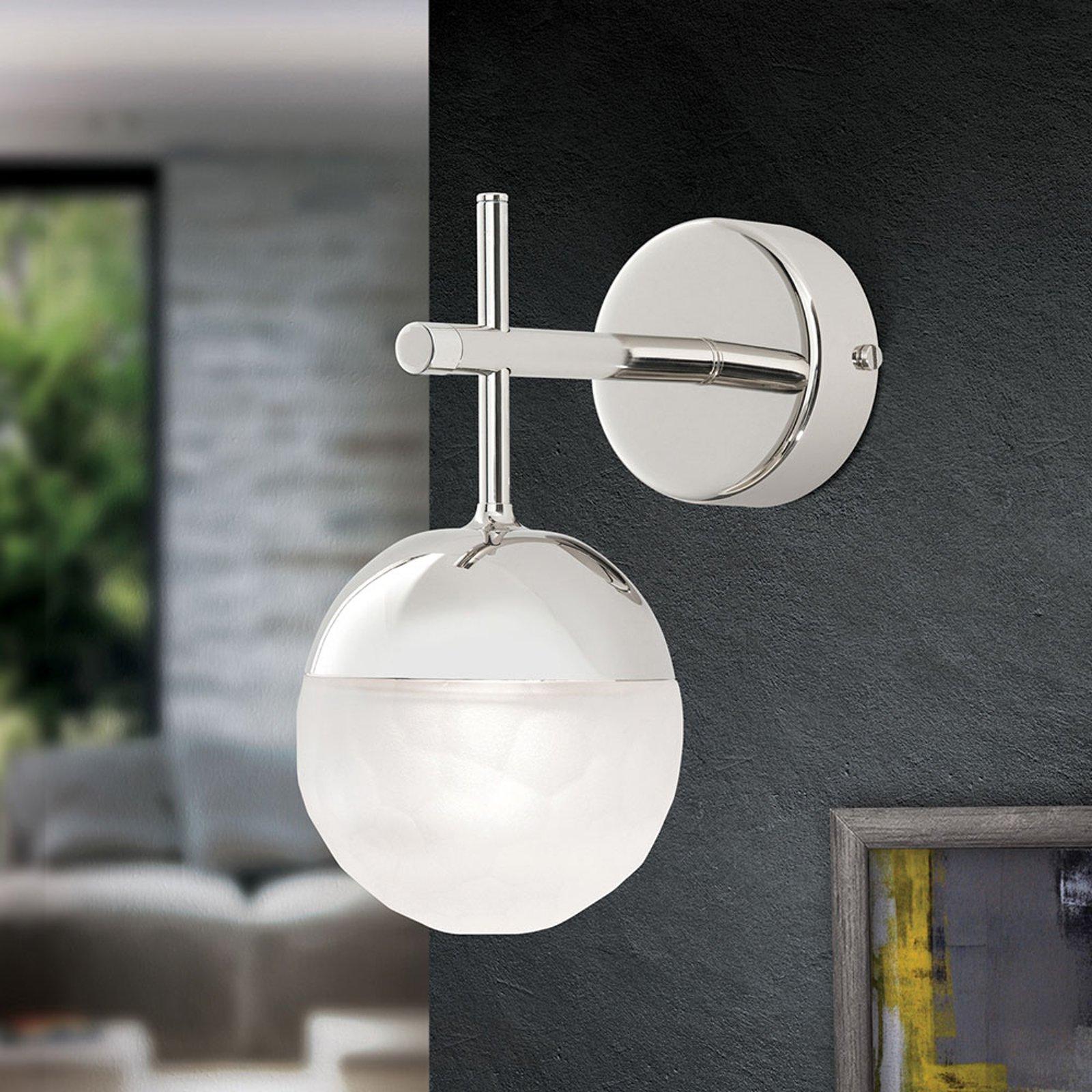 LED-vegglampe Ball 1 lyskilde, nikkel, nedover
