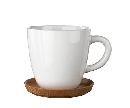 Kaffemugg 33 cl med träfat vit blank