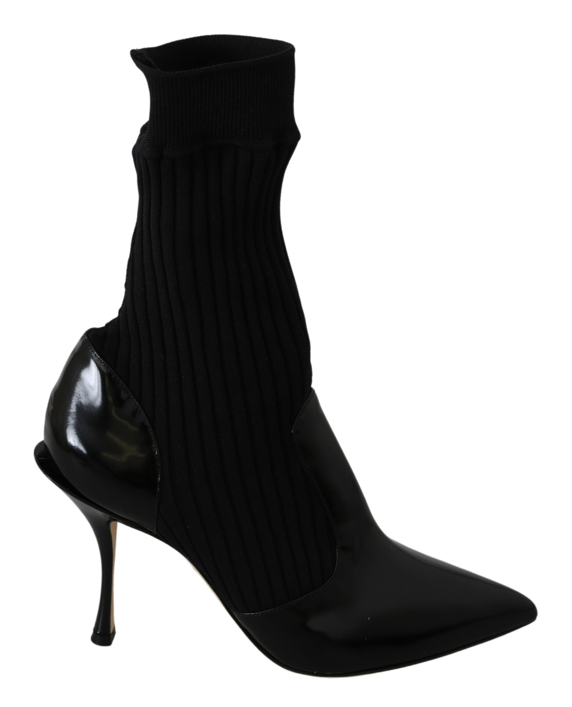 Black Mid Calf Socks Leather Boots Shoes - EU37/US6.5