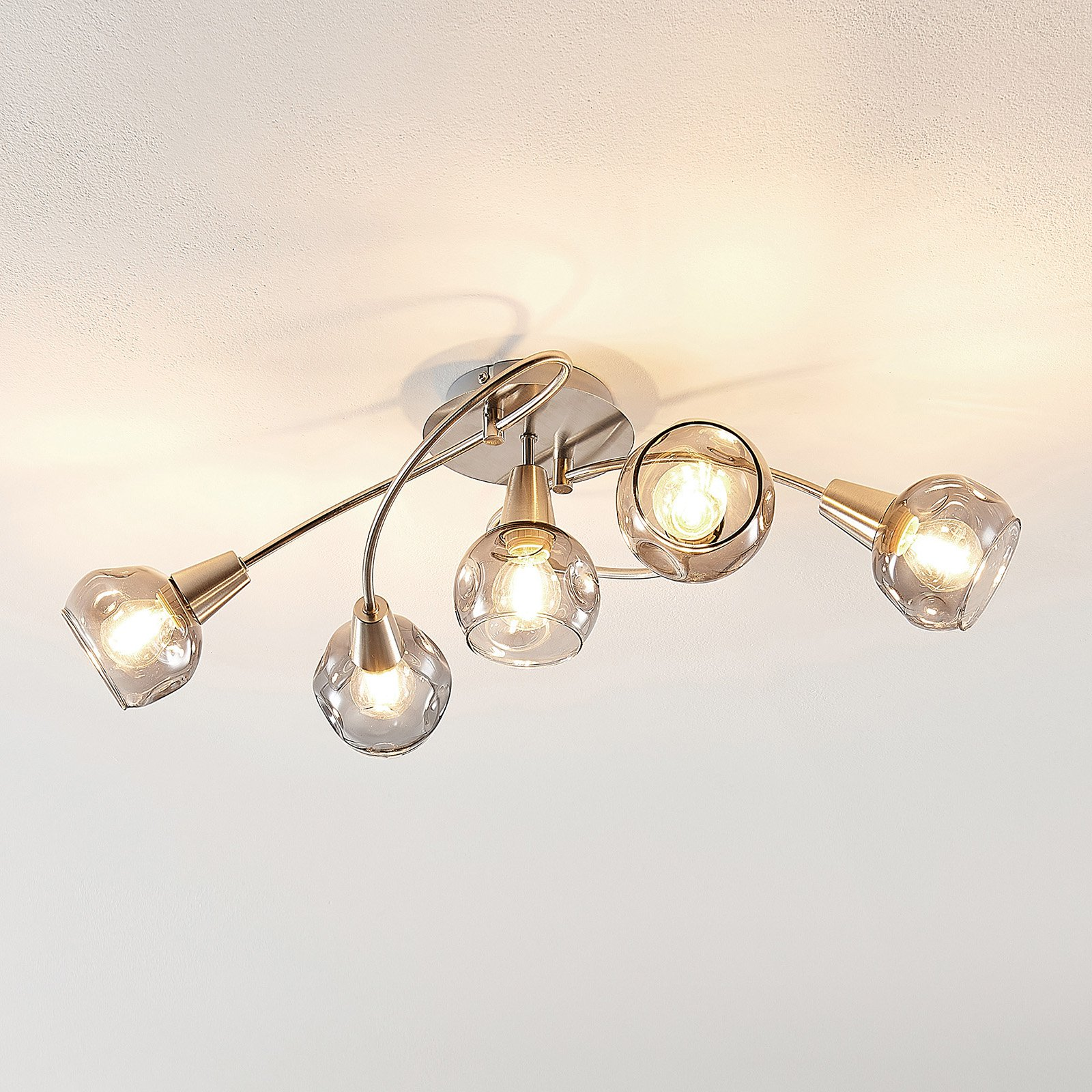 Lindby Almina taklampe, røykglass, 5 lyskilder