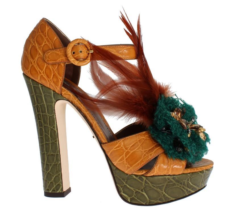 Dolce & Gabbana Women's Caiman Crocodile Leather Sandal Multicolor SIG17593 - EU36/US5.5