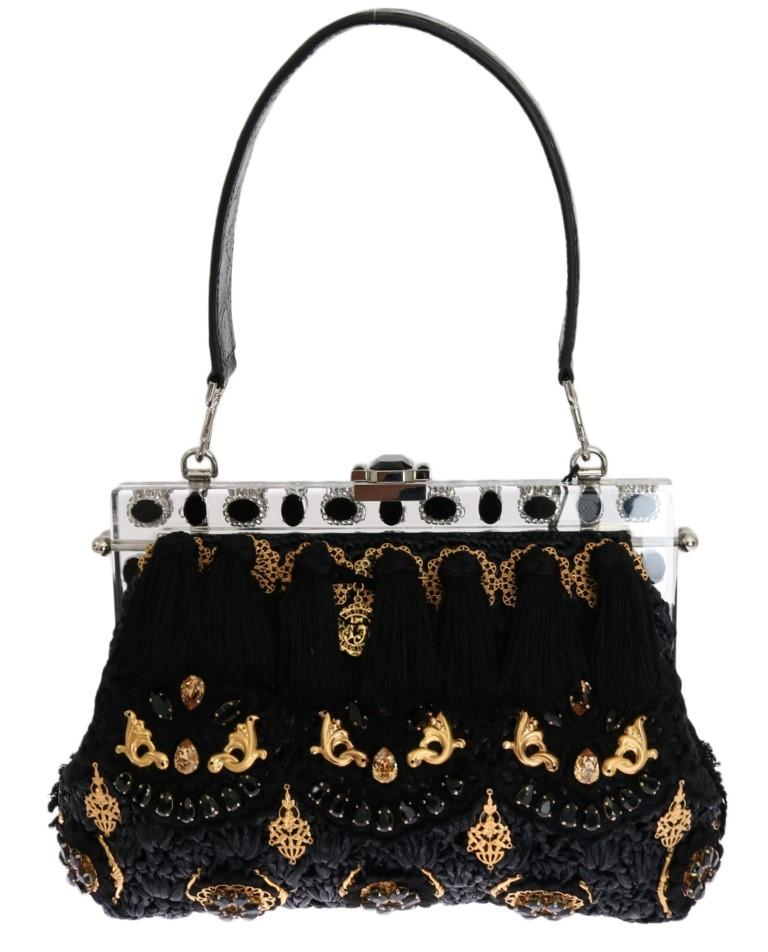 Dolce & Gabbana Women's Tassel Baroque Crystal Clutch Bag Black VAS1287