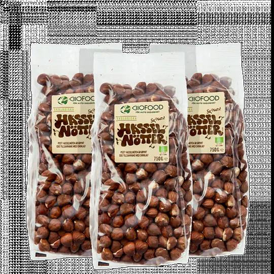3 x Hasselnötter, 750 g