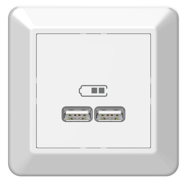 Elko EKO05982 Ladeuttak USB 2,1 A, hvit