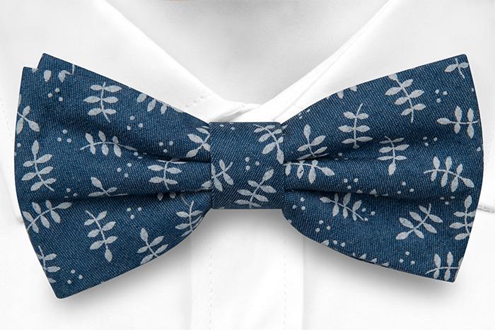 Bomull Sløyfer Knyttede, Denimblått med skarpe, hvite bladstammer, Blå, Blomster