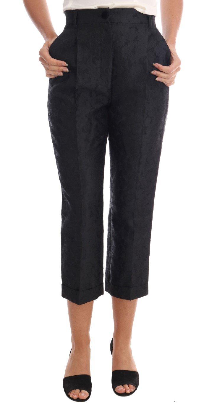 Dolce & Gabbana Women's Floral Brocade Capri Trousers Black BYX1126 - IT36 | XS