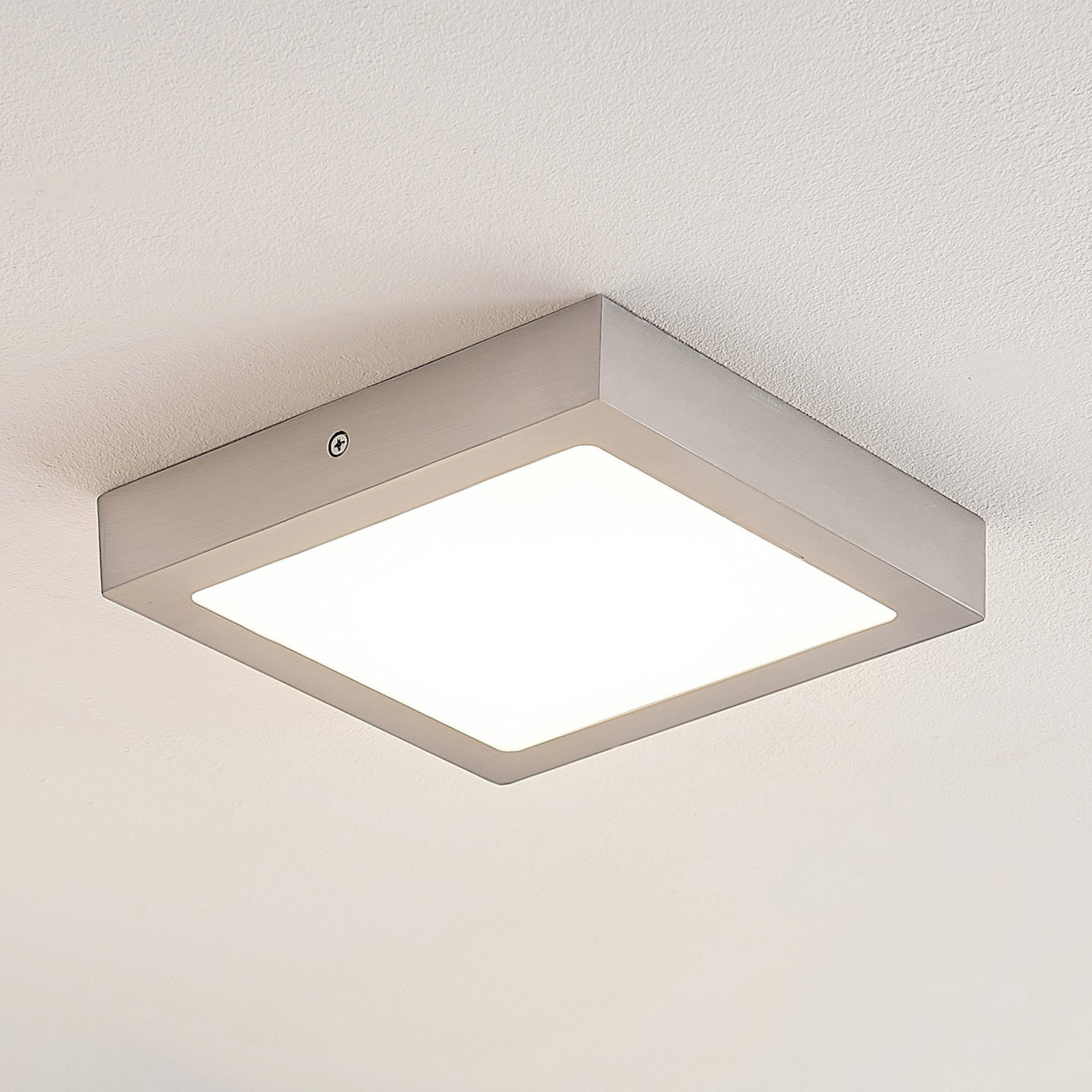 ELC Merina LED-taklampe nikkel, 21,5 x 21,5cm