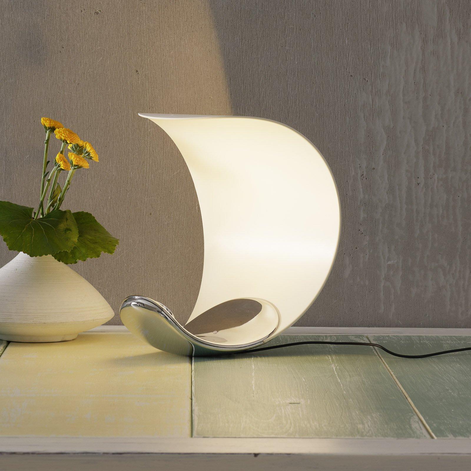 Designer-bordlampe Curl hvit/avspeilet