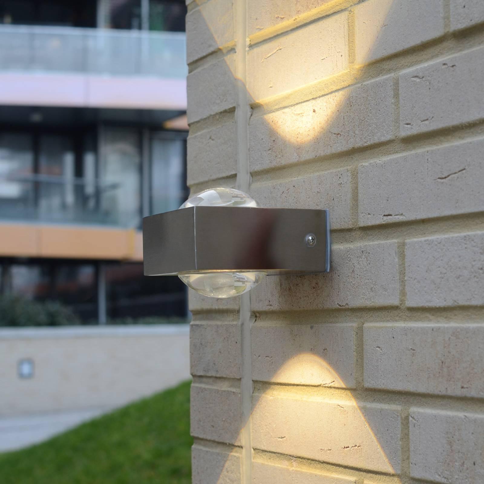 LED-ulkoseinävalaisin Crystal, ruostumaton teräs