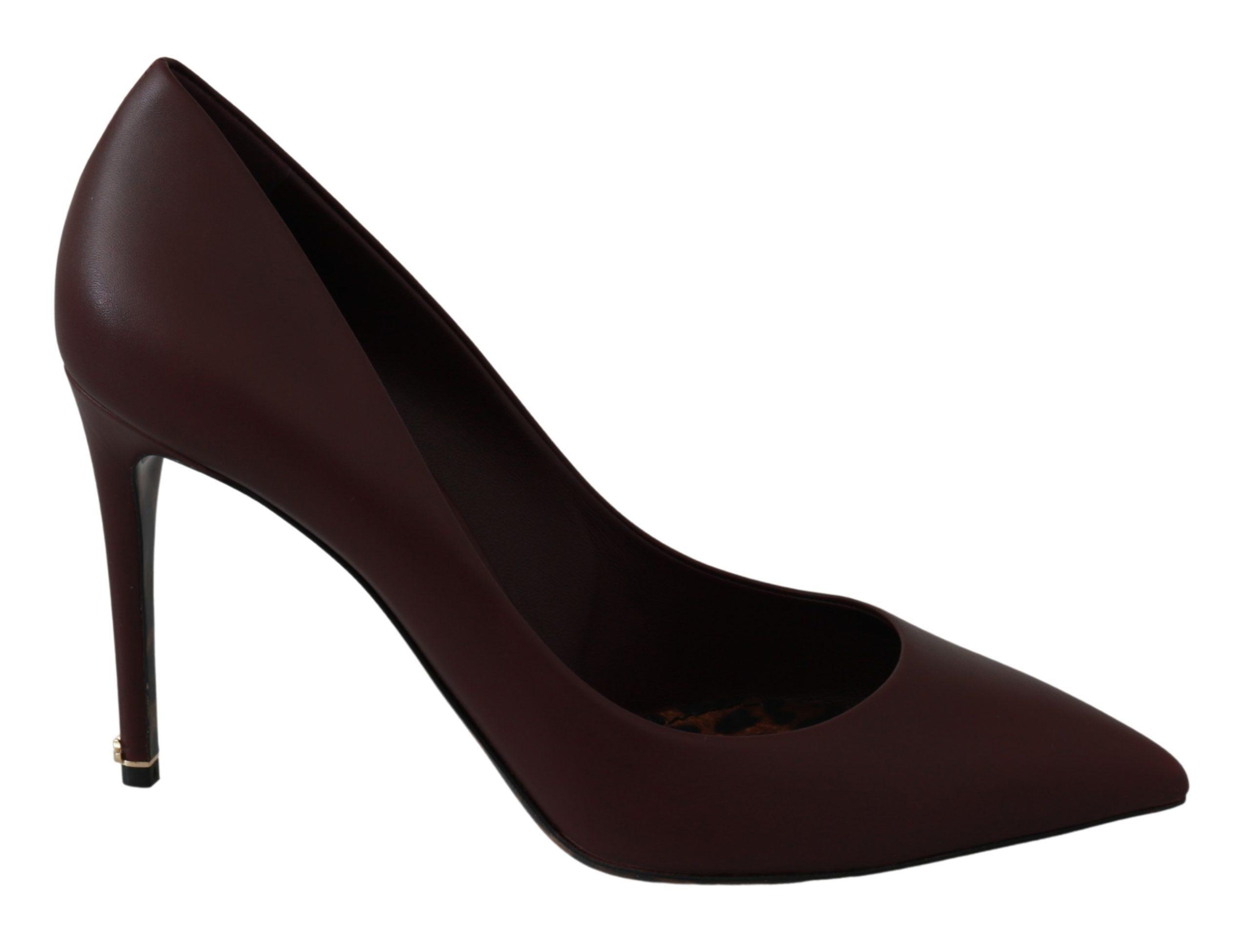 Dolce & Gabbana Women's Patent Leather Heels Pumps Shoes Brown LA6478 - EU35.5/US5