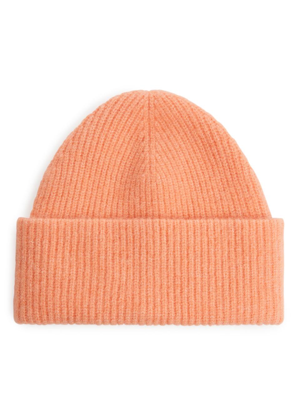 Half-Cardigan Alpaca Merino Beanie - Orange