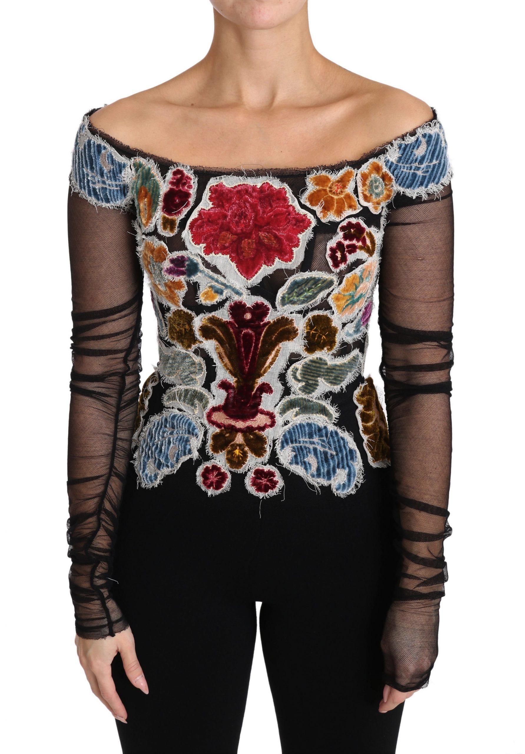 Black Floral Ricamo Top T-shirt Blouse - IT36|XXS