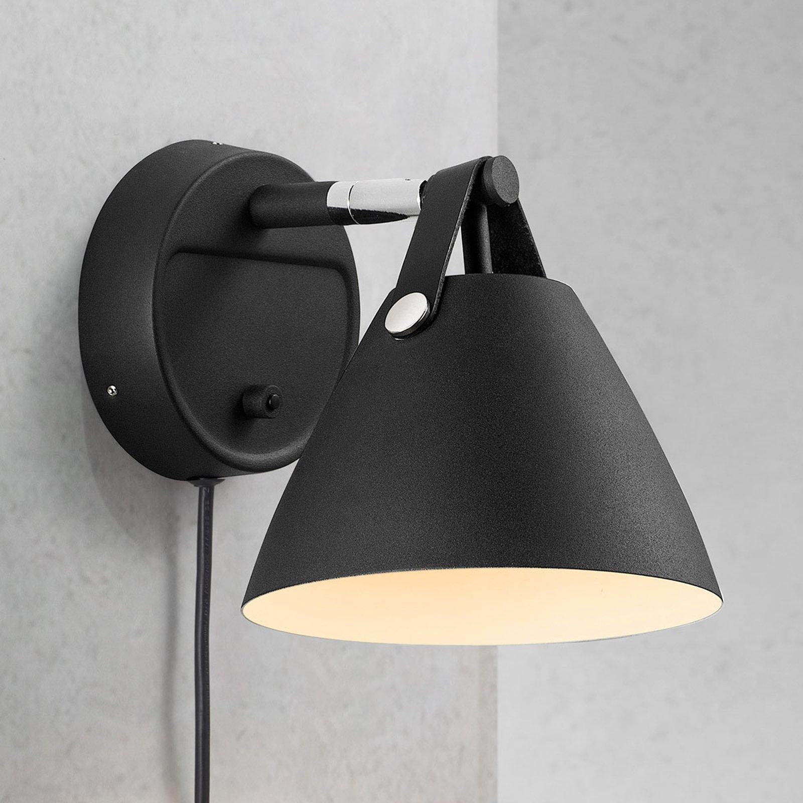 Vegglampe Strap med lærrem, svart