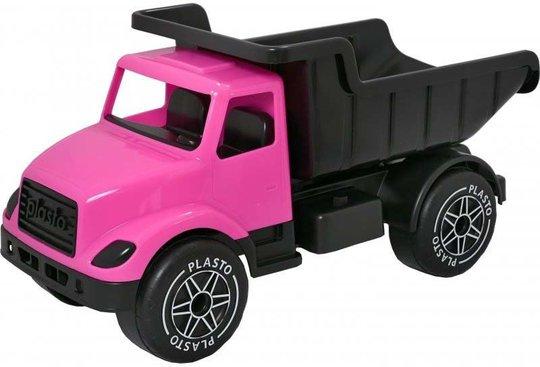 Plasto Stor Lastebil Med Stillegående Hjul, Rosa/Svart