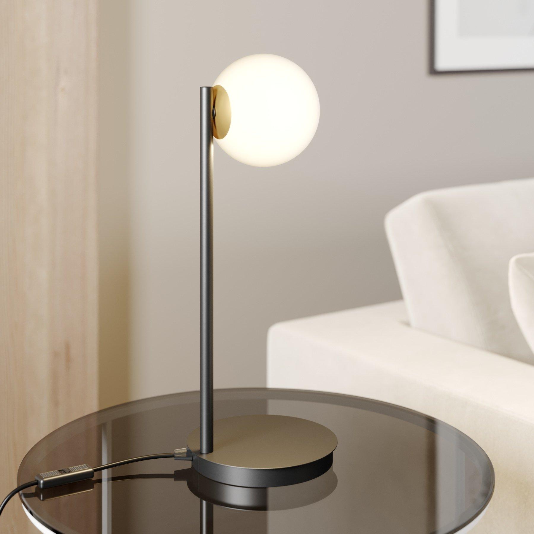 Bordlampe Gama i svart med glasskule