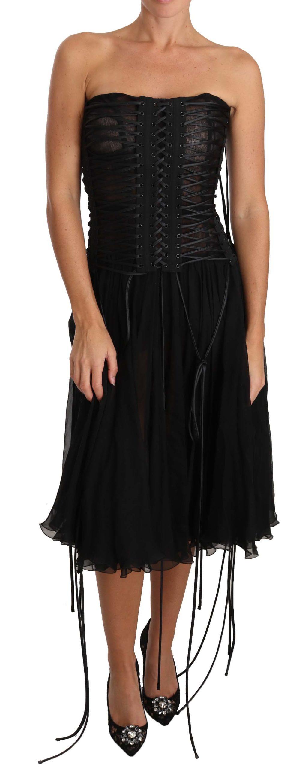 Dolce & Gabbana Women's Strapless Corset A-line Midi Dress Black DR2027 - IT46|XL