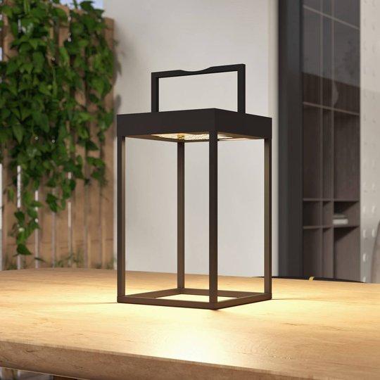 Lucande Lynzy LED-solcellelampe, svart, 38,3 cm