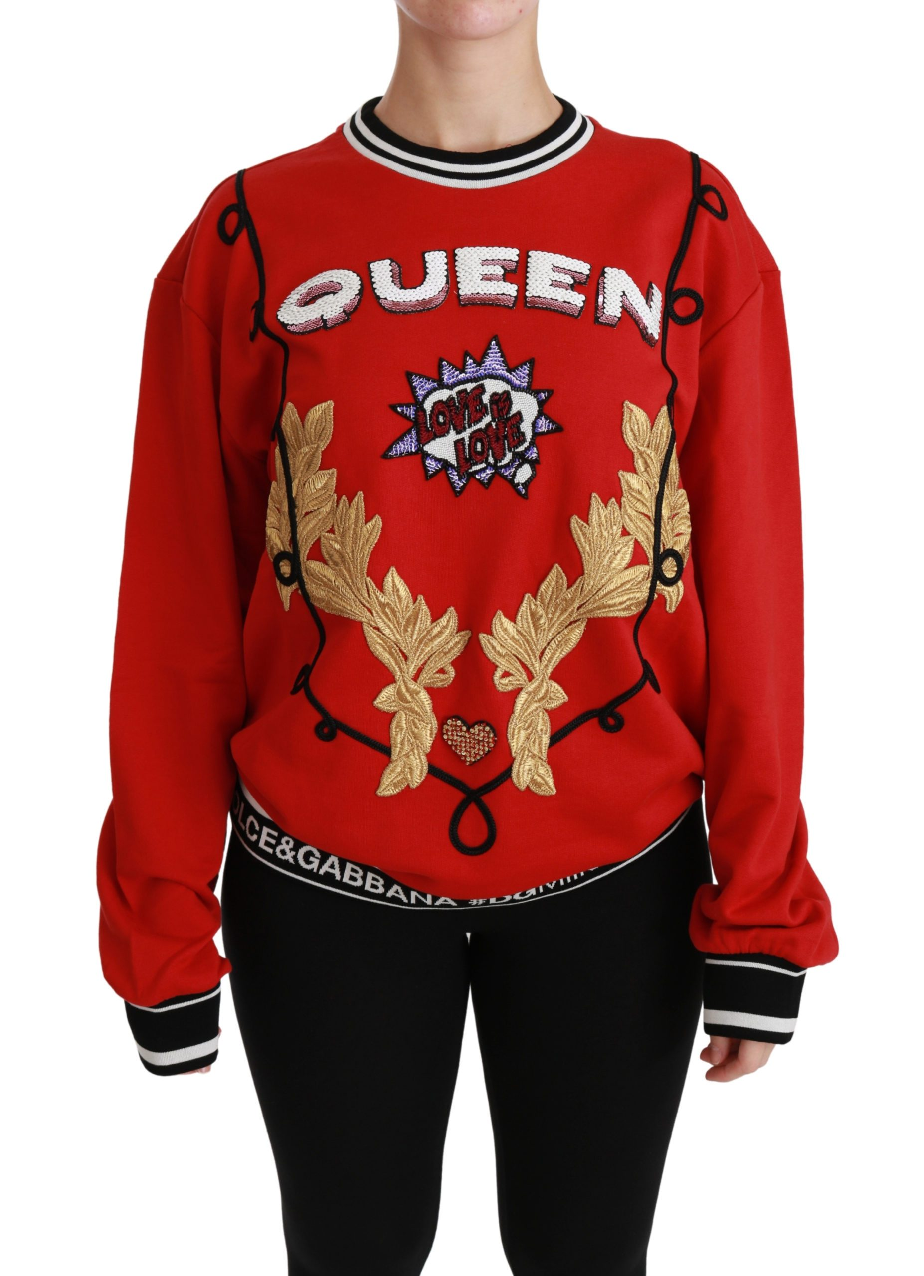 Dolce & Gabbana Women's Queen Sequined Love Pullover Sweater Red TSH4387 - IT36 | XS