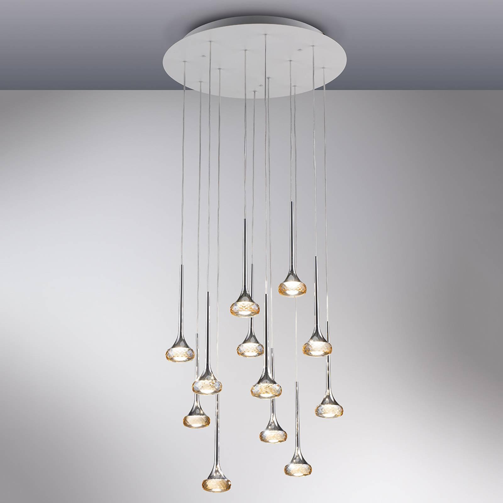 12-osainen Fairy-LED-riippuvalaisin, meripihka
