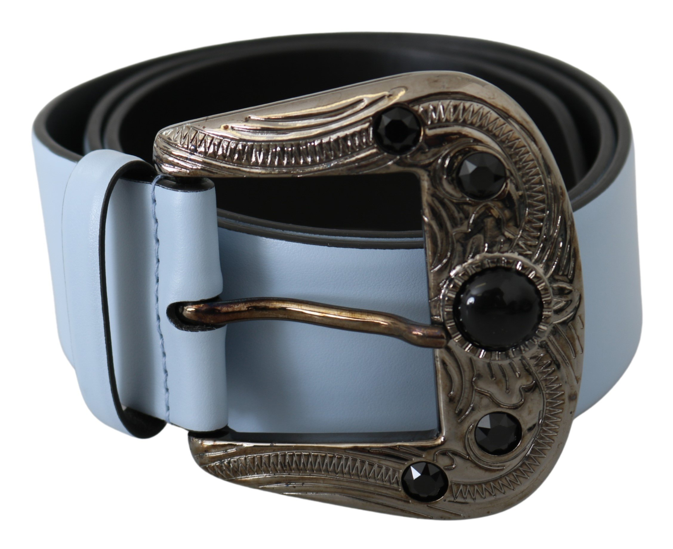 Dolce & Gabbana Women's Pearl Buckle Leather Belt Blue BEL60767 - 90 cm / 36 Inches