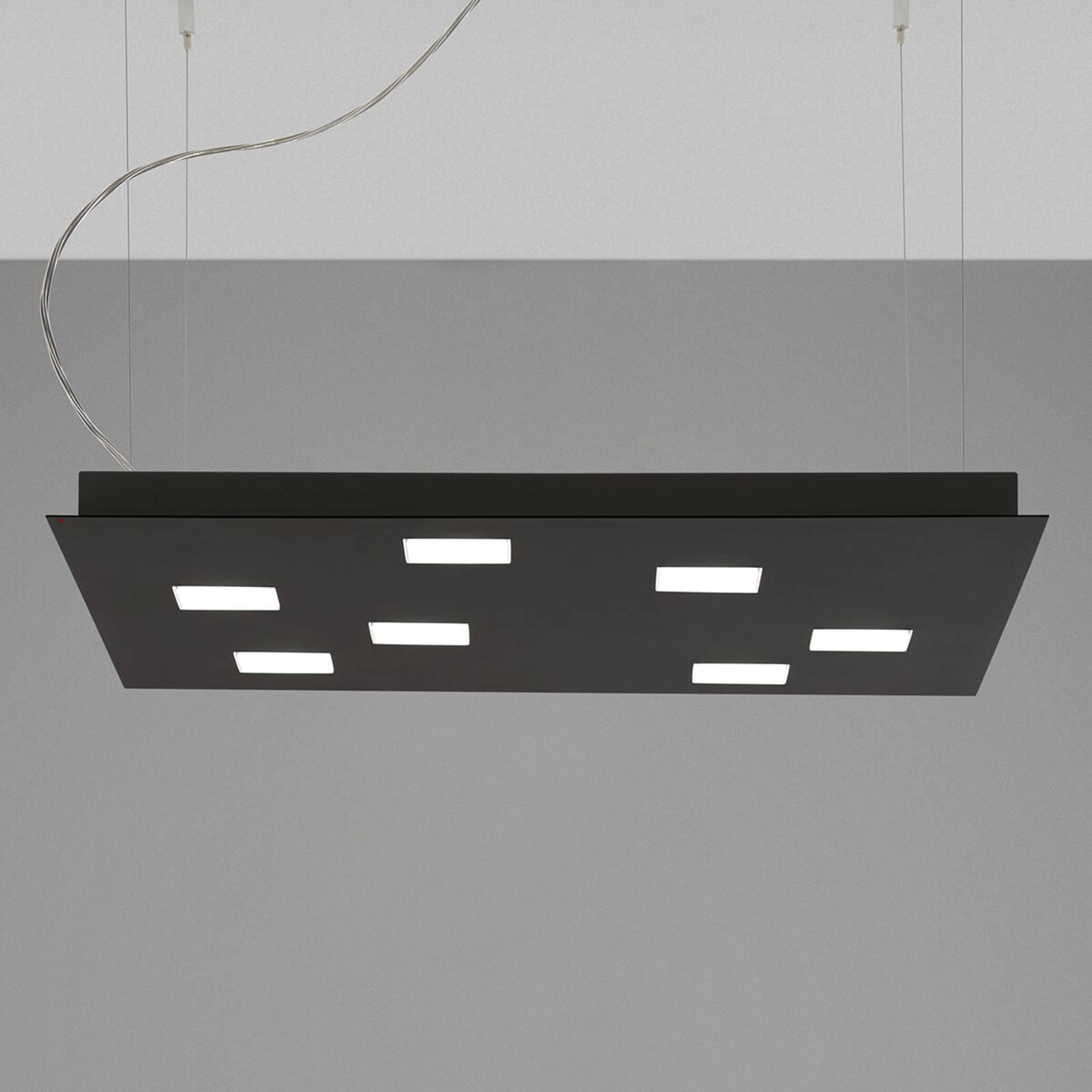 Fabbian Quarter -LED-riippuvalaisin 7-lamp. musta