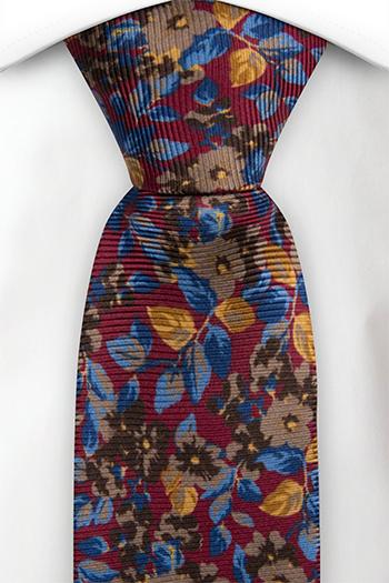 Silke Slips, Burgunder og blå blomster, Rød, Blomstrete, Notch FLOREALE BURGUNDY
