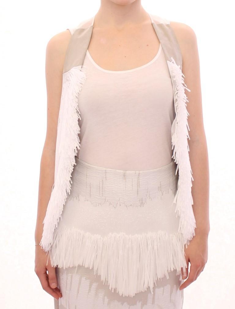Arzu Kaprol Women's Lashes Open Back Vest Jacket White GSS10321 - IT40|S