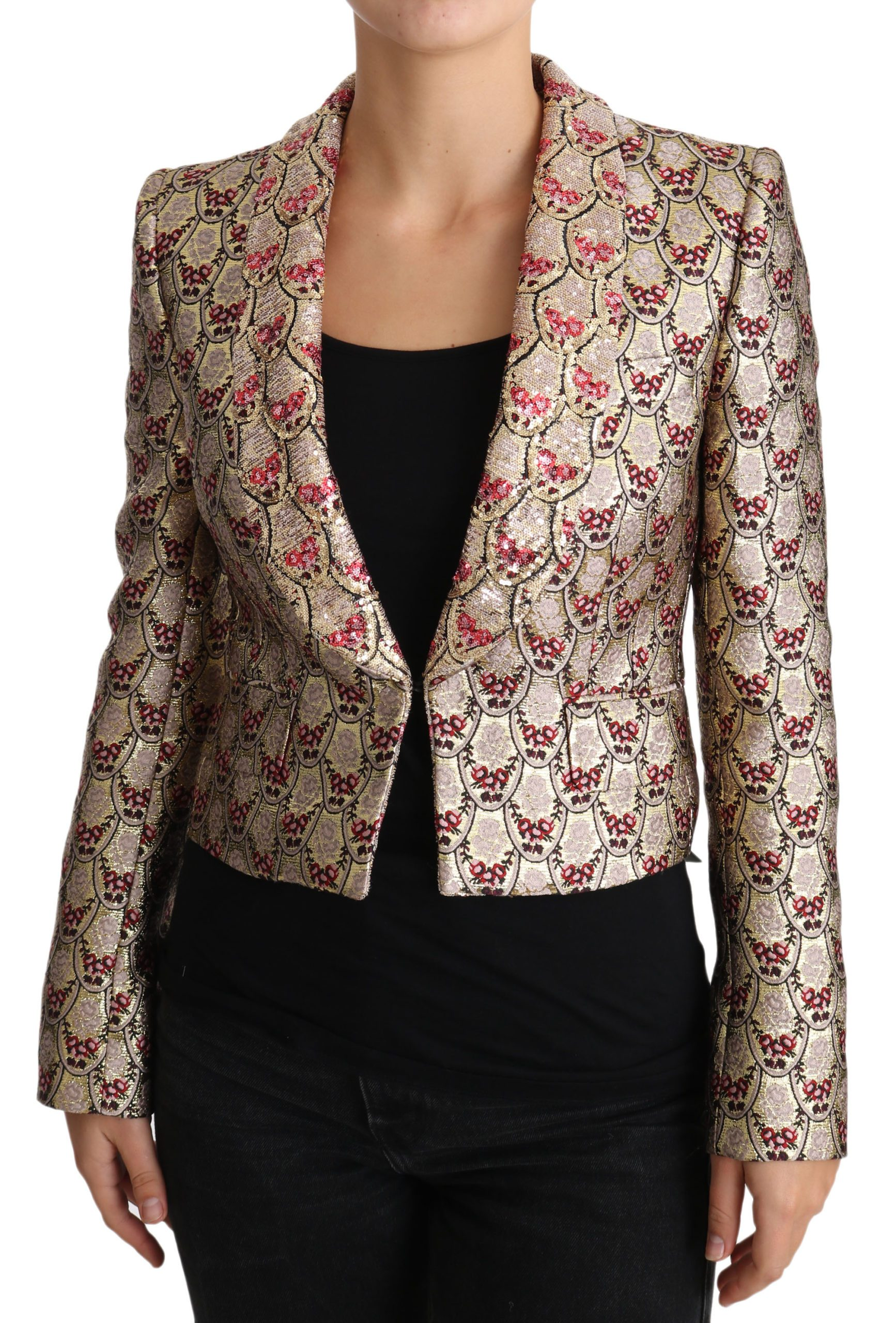 Dolce & Gabbana Women's Floral Sequined Blazer Jacket Gold JKT2420 - IT38 XS