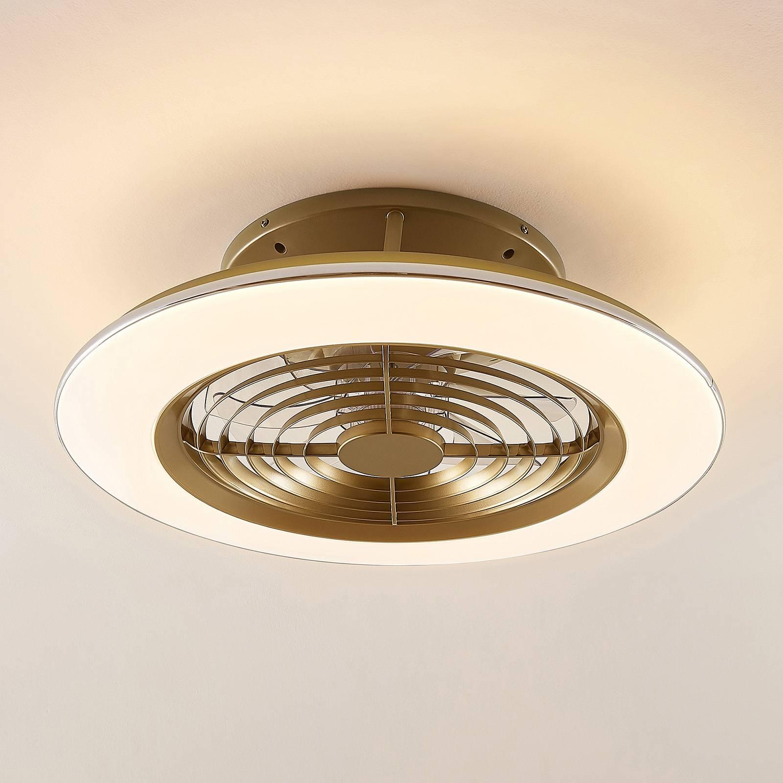Arcchio Fenio -LED-kattotuuletin valolla, kulta
