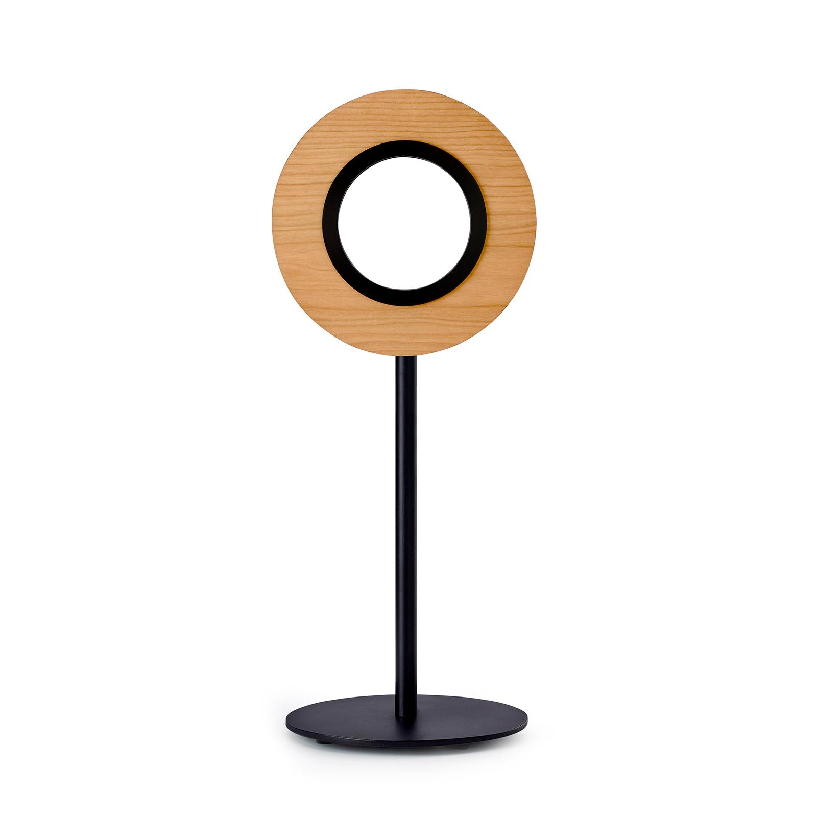 LZF Lens Circular -LED-pöytälamppu musta, kirsikka