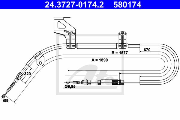 Käsijarruvaijeri ATE 24.3727-0174.2