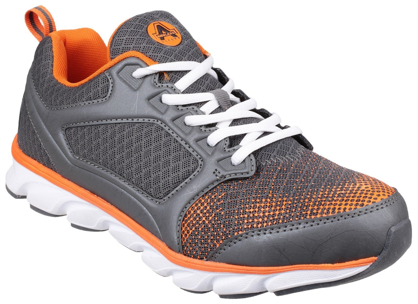 Amblers Unisex Safety Lightweight Non Leather Trainer Various CO - Grey/Orange 6