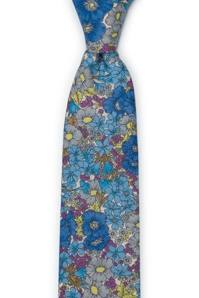 Bomull Smale Slips, Blomster i blått, lilla, oliven & gult på hvitt